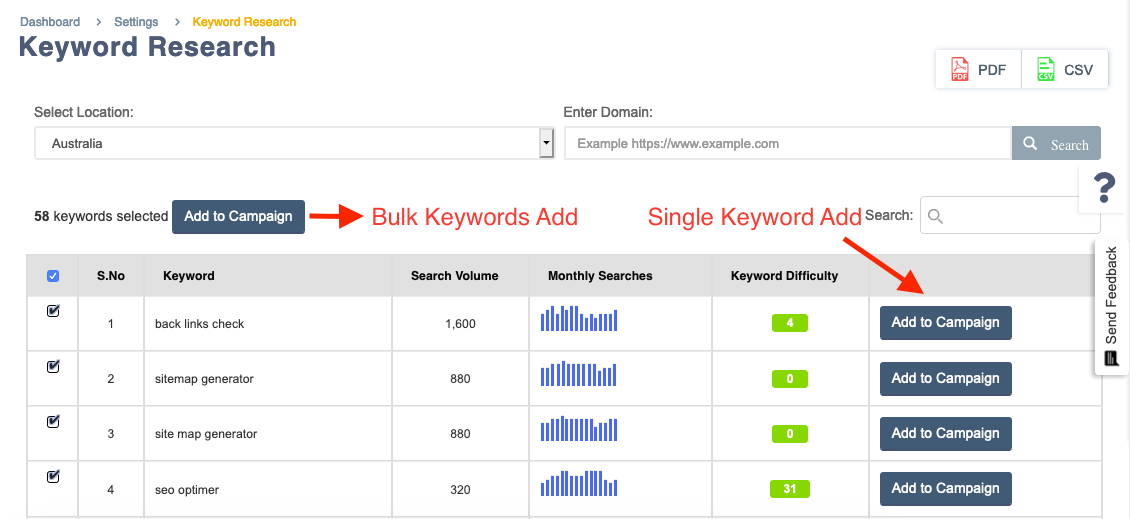 Adding single and bulk keywords