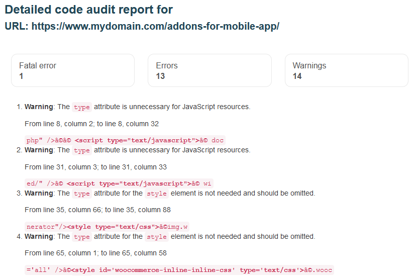 Detailed code audit report