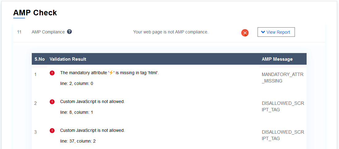AMP compliance check