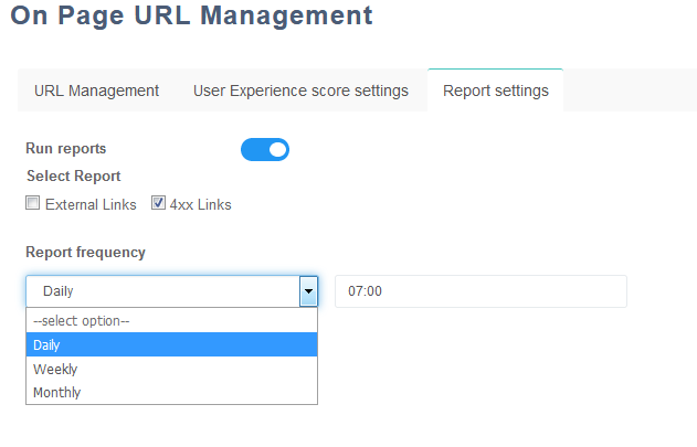 URL Management - Report Settings