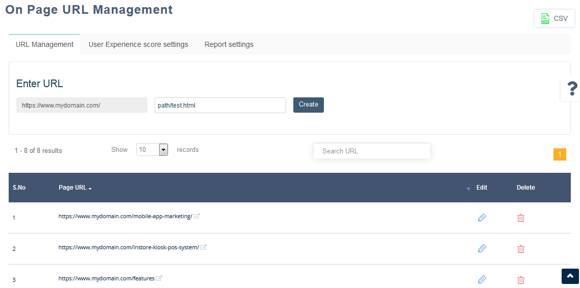On-Page URL Management