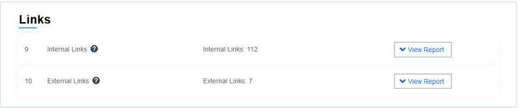 Internal links and external links presence in the webpage